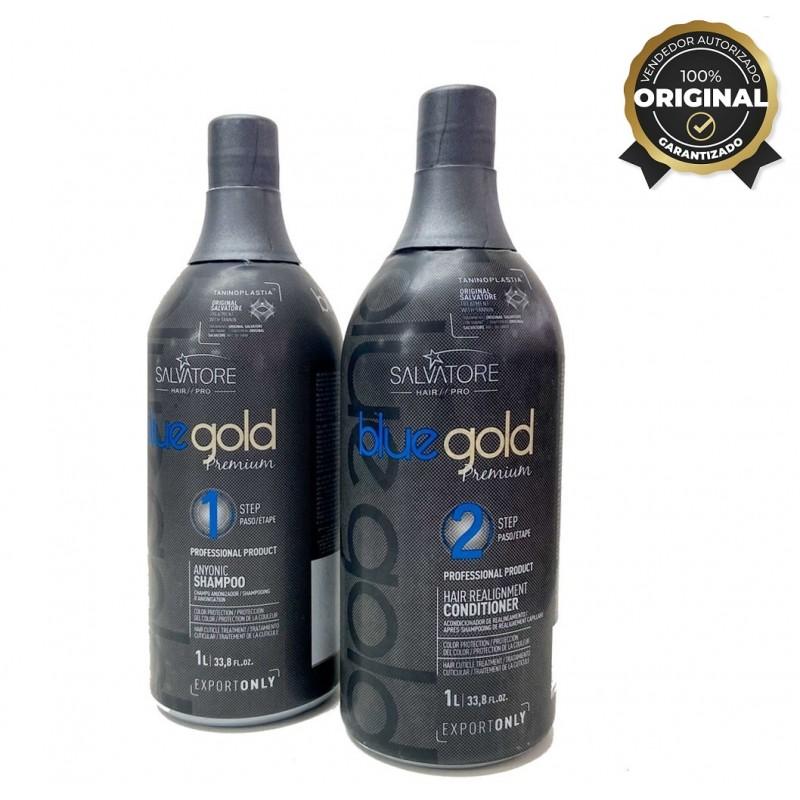 Pack Salvatore Blue Gold Premium 2x1L - Alisado Taninoplastia